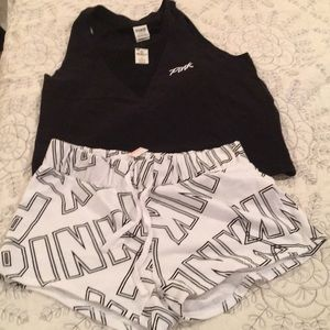Victoria's Secret Pink shorts and top.